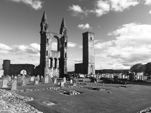 St Andrews, on a glorious sunny day. So naturally I took this photo in black and white.